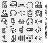 set of 25 stereo outline icons... | Shutterstock .eps vector #640556086