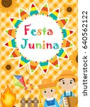 festa junina greeting card ... | Shutterstock .eps vector #640562122