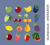 fruit icons set. apple. cherry. ... | Shutterstock . vector #640563535