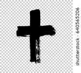 hand drawn cross. grunge cross. ... | Shutterstock .eps vector #640565206