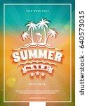 summer sale flyer or banner.... | Shutterstock .eps vector #640573015