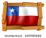 chile flag in wooden frame