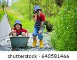 cute children  boy brothers ... | Shutterstock . vector #640581466
