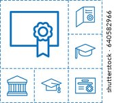 college icon. set of 6 college... | Shutterstock .eps vector #640582966