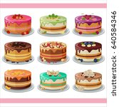 set of layered cakes with fruit ... | Shutterstock .eps vector #640584346