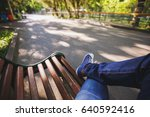 first person view a man sitting ... | Shutterstock . vector #640592416