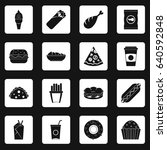 fast food icons set in white... | Shutterstock . vector #640592848
