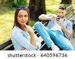man having fun with smartphone... | Shutterstock . vector #640596736