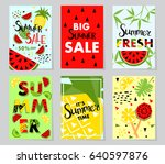 summer sale banner with fruit ... | Shutterstock .eps vector #640597876