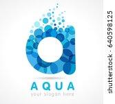 aqua a water drop letter logo.... | Shutterstock .eps vector #640598125