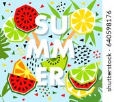 summer banner with watermelon... | Shutterstock .eps vector #640598176