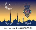 ramadan kareem greeting card... | Shutterstock .eps vector #640600396