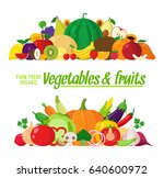 vector vegetables and fruits... | Shutterstock .eps vector #640600972