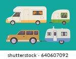 Retro camper trailer collection. car trailers caravan. tourism. - stock vector