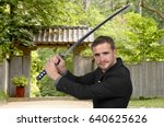 young man with a samurai... | Shutterstock . vector #640625626