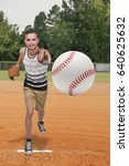 man baseball pitcher getting... | Shutterstock . vector #640625632