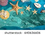 marine blue background with... | Shutterstock . vector #640636606