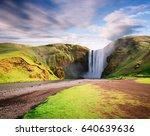 skogafoss waterfall and skoga... | Shutterstock . vector #640639636