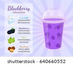 smoothie recipe   blackberries  ... | Shutterstock .eps vector #640660552