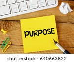 Small photo of Purpose / Purpose sticker with marketing plan inscription over computer keyboard