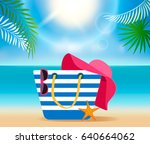 Set Of Beach Accessories On Th...