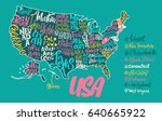 silhouette of the map of usa... | Shutterstock .eps vector #640665922