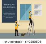 banner with workers who repair...   Shutterstock .eps vector #640680805