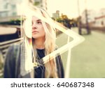 young hipster woman listening...   Shutterstock . vector #640687348
