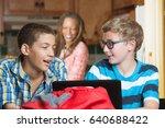 cheerful male teenage friends...   Shutterstock . vector #640688422