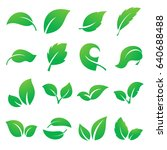 leaf icons. collection of green ... | Shutterstock .eps vector #640688488