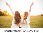 young women are having fun on... | Shutterstock . vector #640692112