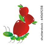 The cheerful caterpillar bears the big apples - stock photo