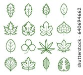 leaf icons. collection of green ... | Shutterstock .eps vector #640694662