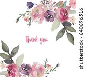 watercolor floral illustration  ... | Shutterstock . vector #640696516