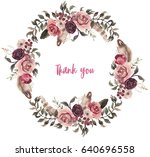 watercolor natural boho floral... | Shutterstock . vector #640696558