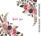 watercolor natural boho floral... | Shutterstock . vector #640696642