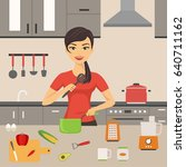 woman cooking at kitchen....   Shutterstock .eps vector #640711162
