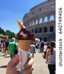 Small photo of Gelato and the good old Colosseum
