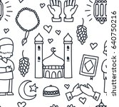 islamic doodle seamless pattern ... | Shutterstock .eps vector #640750216