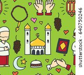 islamic doodle seamless pattern ... | Shutterstock .eps vector #640750246