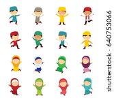 moslem kids character design...   Shutterstock .eps vector #640753066