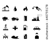 oil and refinery industry icons ... | Shutterstock .eps vector #640755178