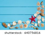 seashells frame on blue wood... | Shutterstock . vector #640756816