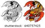 hand drawn koi fish in dragon...   Shutterstock .eps vector #640757425