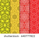 set of seamless floral pattern... | Shutterstock .eps vector #640777822