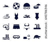 swim icons set. set of 16 swim... | Shutterstock .eps vector #640786546