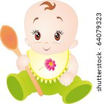 little baby with spoon.... | Shutterstock .eps vector #64079323