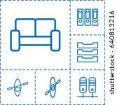 row icon set of 6 row outline