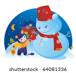 A little girl and a snowman with Christmas tree ball - stock vector