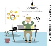 employees is headache with his... | Shutterstock .eps vector #640825876